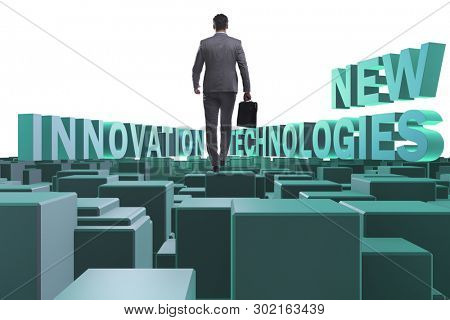 Businessman in new technologies concept