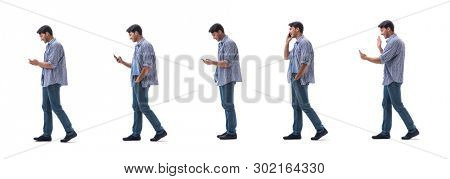 Young student with smartphone isolated on white
