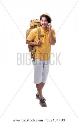 Young handsome tourist isolated on white