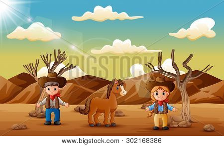 Cartoon Cowboy And Cowgirl With A Horse In The Desert