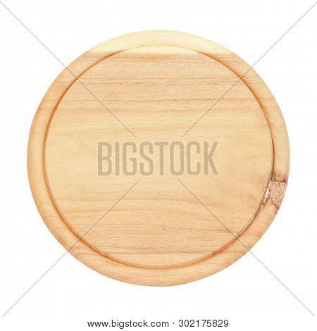 Round Wooden Kitchen Board With A White Background