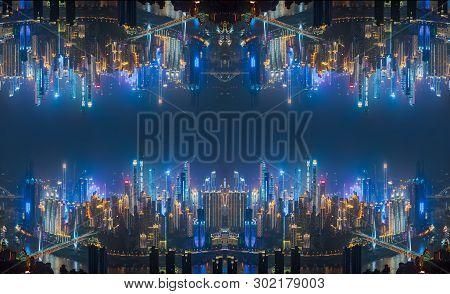 Skyscraper Buildings Upside Down Reflection Inception Futuristic Concept In Urban City At Night, Cho