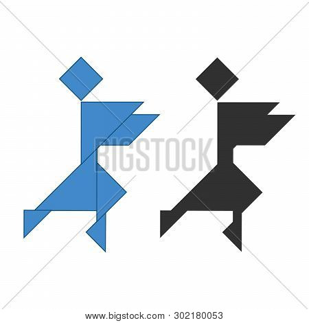 Ninja Tangram. Traditional Chinese Dissection Puzzle, Seven Tiling Pieces - Geometric Shapes: Triang