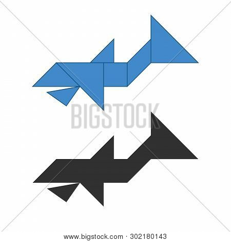 Whale Tangram. Traditional Chinese Dissection Puzzle, Seven Tiling Pieces - Geometric Shapes: Triang