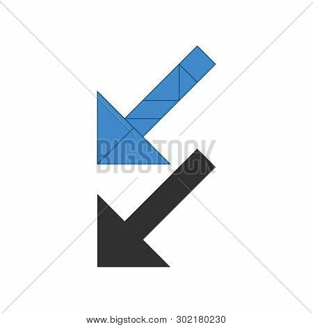 Arrow Left Down Tangram. Traditional Chinese Dissection Puzzle, Seven Tiling Pieces - Geometric Shap