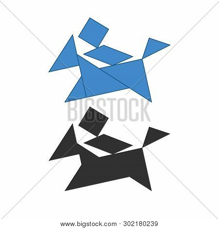 Man On A Small Horse Tangram. Traditional Chinese Dissection Puzzle, Seven Tiling Pieces - Geometric
