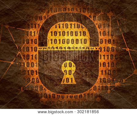 Binary Code Background With Lock Icon. Algorithm Binary, Data Code, Decryption And Encoding, Row Mat