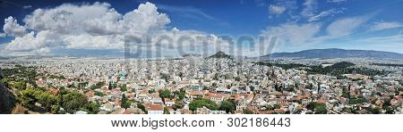View Over The City And The Acropolis In Athens, Greece