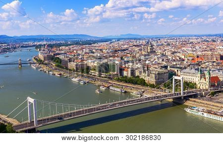 View From The Gelert Hill On The City Of Budapest And The Danube River