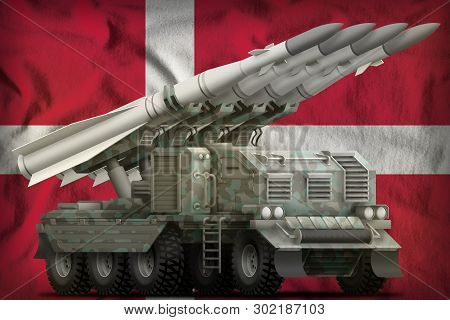 Tactical Short Range Ballistic Missile With Arctic Camouflage On The Denmark Flag Background. 3d Ill