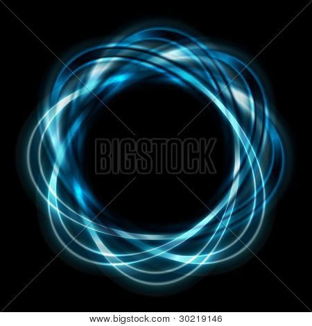 Colorful logo. Bright blue shapes on black background. Eps 10 vector