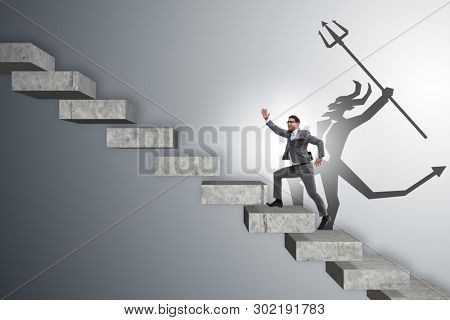 Businessman with alter ego climbing career ladder