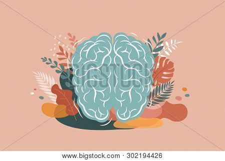 Brain, Mind And Mindfulness Concept Illustration. Vector Background And Poster With Leaves And Natur