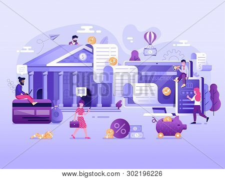 Digital Transaction Ui Illustration With Flat People Characters Doing Web Money Transfers And Deposi