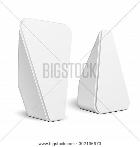 Mockup Two Stand Banner Stall Bar Display. Triangle Rounded Poi Blank Empty Retail. On White Backgro