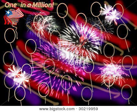 Patriotic design with fireworks