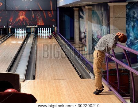 Gomel, Belarus - May 15, 2019: Continent Entertainment Center. Kids Playing Bowling.