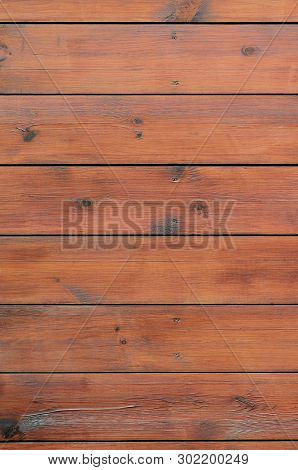 Varnished Wood Background From Cabin Exterior. Brown Wood Barn Plank