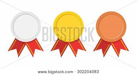 Set Of Three Award Medals - Gold, Silver, Bronze. Winner Medal With Red Ribbon Icon. Premium Badges.