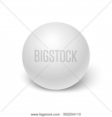 Realistic White Sphere With Shadow Isolated On White Background. 3d Ball Or Orb. Mock Up Template Fo