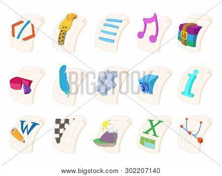 File Type Icon Set. Cartoon Set Of File Type Icons For Web Design Isolated On White Background