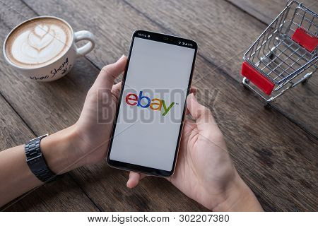 Chiang Mai, Thailand - May 11, 2018: Close Up Of Ebay App On A Apple Oneplus 6 Screen. Ebay Is One O