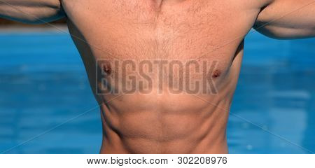 Male Breasts. Athlete. Depilation For Men. Nipple. Muscle, Athletic Build. Sportsman. Rib Cage. Stro