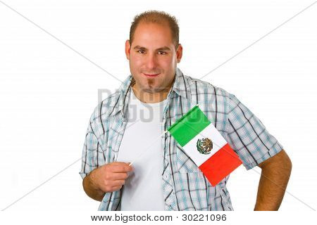 Young Man With Mexican Flag