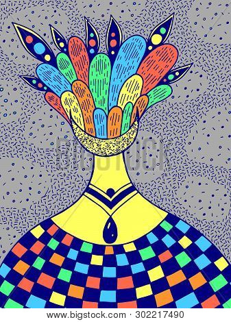 Hand Drawncolorful Psychedelic Illustration With The Alien Surreal Girl. Abstract Fantastic Art. Vec