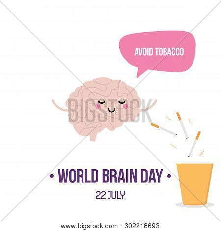 Vector Illustration For World Brain Day With Cute Cartoon Style Brain Character, Giving Advice To Av