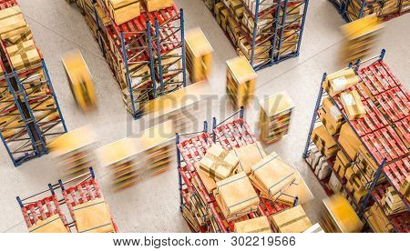 automated storage warehouse with drones used to transport goods independently. 3d render image.