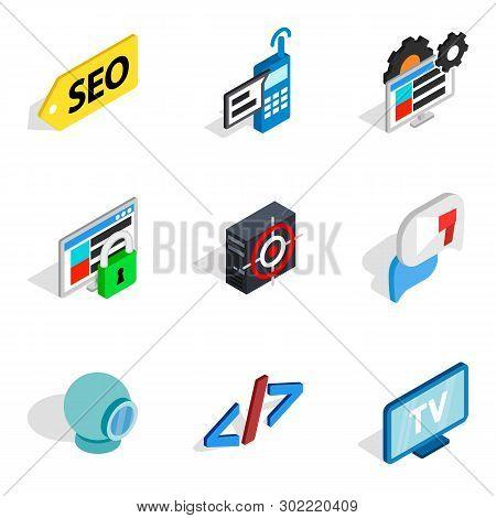 Computer Biz Icons Set. Isometric Set Of 9 Computer Biz Icons For Web Isolated On White Background