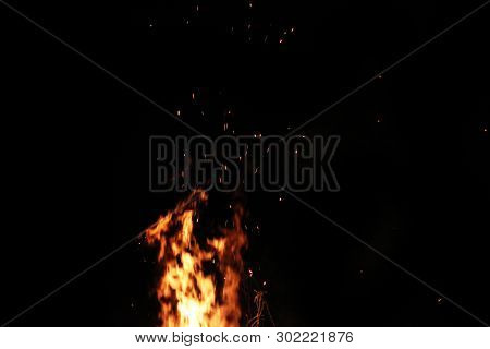 Sparks Of Flame. Strong Fire. Fiery Drawing