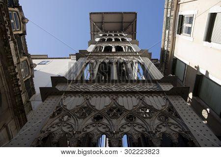View Of The Santa Justa Lift (elevador De Santa Justa) Lisbon, Portugal, Europe - November 2010