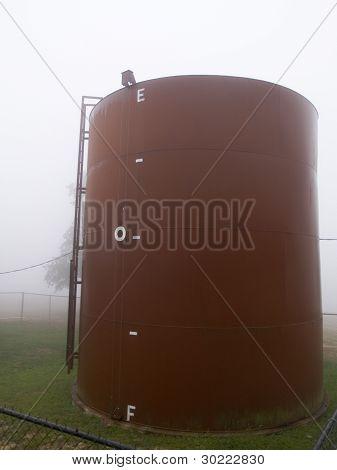 Rural Foggy Water Tank
