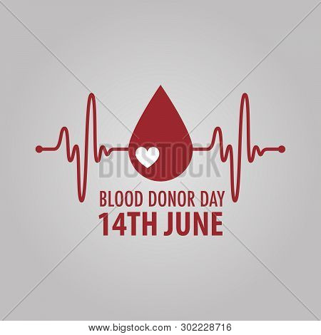Logo For 14 June - World Blood Donor Day. On Gray Background. Pulse Wave And Red Blood Drop - Donati