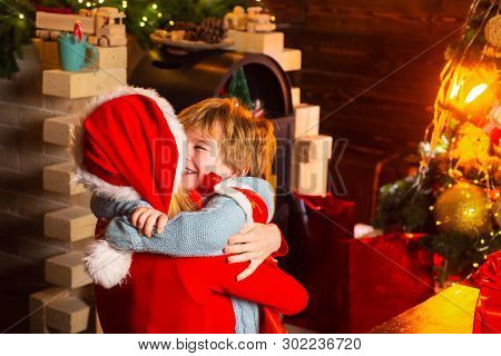 Happy Family. Santa Claus Coming. Mother And Little Child Boy Adorable Friendly Family Having Fun. F
