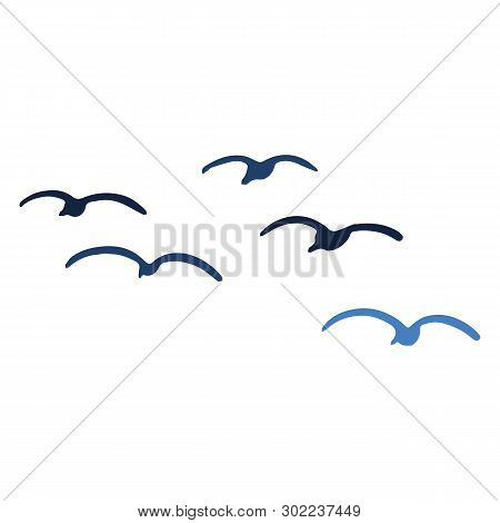 Cute Seagull Flock Silhouette Cartoon Vector Illustration Motif Set. Hand Drawn Isolated Ocean Life