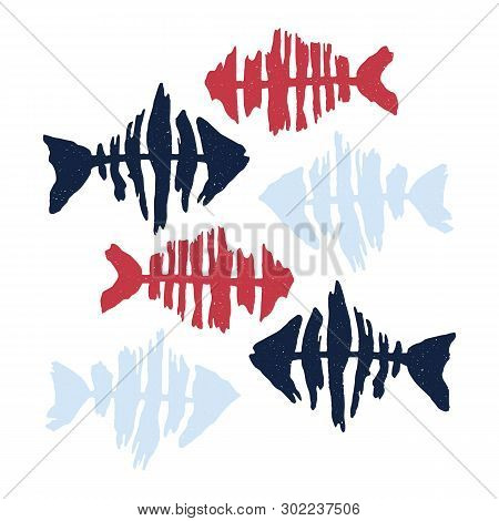 Cute Red And Navy Fish Silhouette Cartoon Vector Illustration Motif Set. Hand Drawn Isolated Stylise