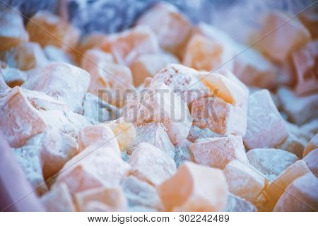 Close Up Turkish Delight Lokum With Powdered Sugar