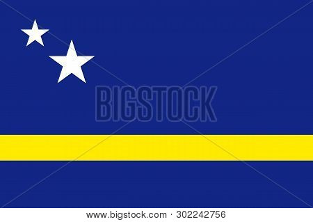 National Flag Of Curacao Island In Caribbean Sea. Patriotic Country Symbol With Official Colors. Fla