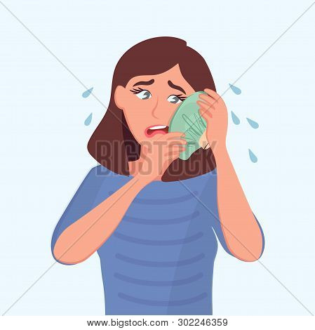 The Sad Girl Holds A Bag Of Ice At The Sick Tooth. Toothache. Vector Illustration Of A Cartoon Sick