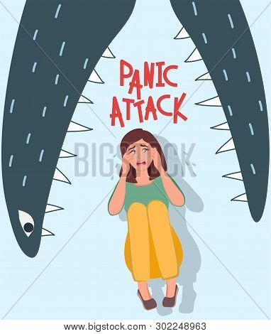 The Girl Has A Panic Attack, She Cries With Fear, Feels Anxiety, Pain In The Head And Body. Image Of
