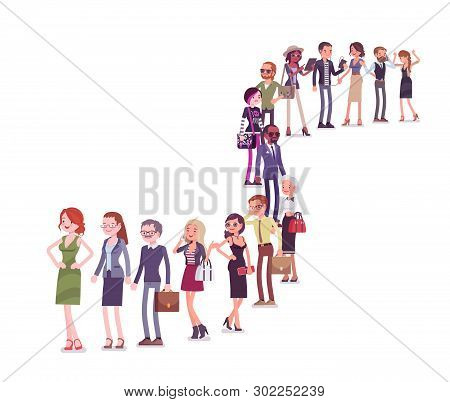 Group Of Diverse People Queuing In A Long Line. Members Of Different Nations, Sex, Various Age And J