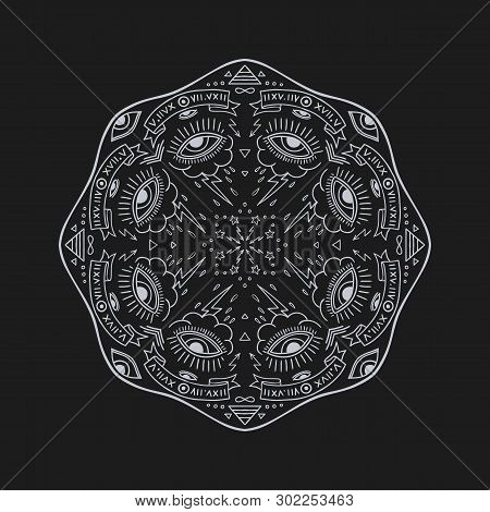 Round Old School Hand Drawn Occult Design With Mystic Symbols, All Seeing Eyes And Stars. Vector Eso