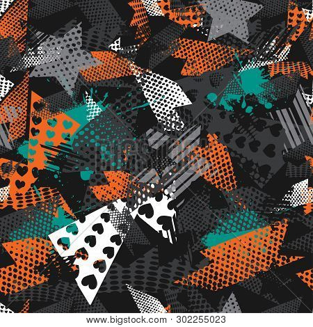 Abstract Seamless Sport Pattern For Girls,boys. Creative Vector Sport Pattern With Triangle, Stars,