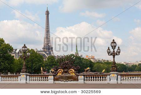 Alexander III Bridge In Paris Showing Eiffel Tower Behind