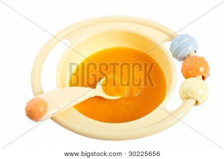 Children Plate With Pumpkin Porridge.