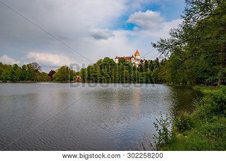 Konopiste Castle, Park And Pond, At Springtime, Benesov, Czech Republic