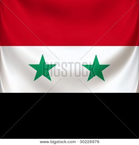 Square flag of Syria, ceremonial draped